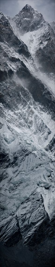 Vertical panorama of Lhotse Wall on the Nepal side