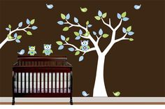 Childrens Pattern Leaf Wall Art Tree with Branch Decal - Nursery -Birds Owls. $99.99, via Etsy.