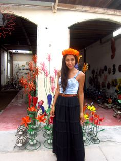 Summer. Flowers. Crop top. Street Style. Mexico.