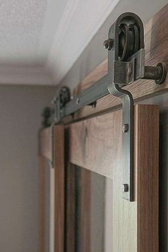 Barn Door Hardware -- bypass doors on a single rail. This would work to replace the closet doors once we have the murphy bed installed. Barn Door Handles, Sliding Barn Door Hardware, Sliding Doors, Gate Hardware, Folding Closet Doors, Bedroom Closet Doors, Master Closet, Hallway Closet, Ikea Closet