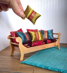 doll furniture Day Bed Couch Scale Dolls House Modern Miniature Boho Chic Timber Furniture Gold Accent Silk Fabric for DollHouse RoomBox OOAK Miniature Houses, Miniature Dolls, Diy Dollhouse, Dollhouse Miniatures, Timber Furniture, Miniature Furniture, Modern Dollhouse Furniture, Barbie Furniture, Boho Chic