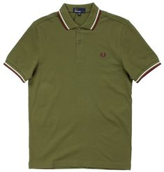 Stand out in this Fred Perry classic! This cypress green pique polo has contrasting maroon & white stripes on the collar and sleeves with Laurel Wreath embroidery on the chest in maroon to match. The offers a fit comparable to the but with sligh Twin Tips, Laurel Wreath, Fred Perry, Cotton Style, Slacks, Looks Great, Twins, Polo Shirt, About Me Blog