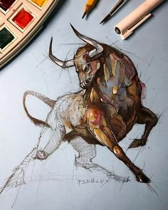 Psdelux is a pencil sketch artist based in Tatabánya, Hungary. He usually draws animal sketches. Psdelux also makes digital drawings. Animal Sketches, Animal Drawings, Art Sketches, Bull Tattoos, Taurus Tattoos, Cool Art Drawings, Realistic Drawings, Bull Painting, Geniale Tattoos
