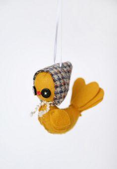 Yellow Bird Ornament by Skunkboy Creatures
