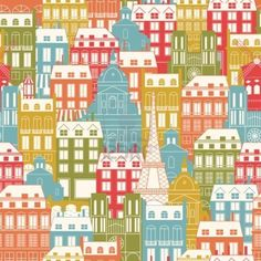 Seamless pattern with city buildings  Paris architecture  Travel background  Stock Photo