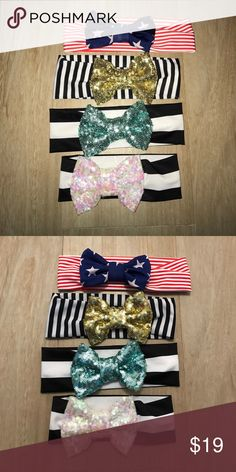 Shelby Chic Sparkle Bow Headbands Shelby Chic Boutique. Lot of 4 sparkle bow headbands. All four are pool/water-safe! They are made from a swimsuit material, and will not fade. Top is child (can stretch to an adult), the middle two are toddler size, 6-12 month size. Purchased for $12 each. (I can separate or combine other headbands from my other listings as needed.) Accessories Hair Accessories
