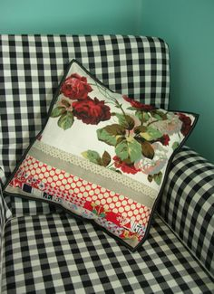Rose cushion and Gingham armchair