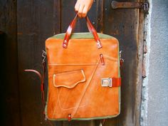 Camel Galileo Bag in Green Version 15 inch laptop by 74streetbags, $245.00