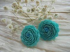 noeminemeth / Náušnice - ružičky tyrkysové s perlou