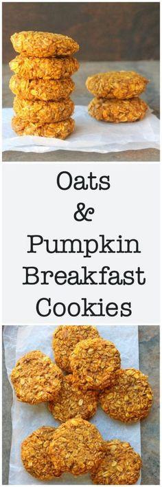 155 calories each Oats & Pumpkin Breakfast Cookies - Vegan, Gluten-Free! Pumpkin Recipes, Fall Recipes, Vegan Recipes, Cooking Recipes, Budget Recipes, Pumpkin Ideas, Brunch Recipes, Breakfast Recipes, Breakfast Sandwiches