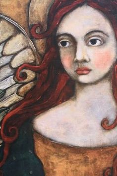 Gritty Jane Original Art now in print! Angel Drawing, Collages, Angel Art, Heart Art, Figurative Art, Painting Inspiration, Female Art, Altered Art, Sculpture