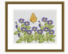 Cross Stitch Pattern, Modern Cross Stitch - Forget-me-not Butterfly Cross Stitch Pattern