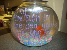 """I love this idea for big little week... one side of the bowl it says zeta tau alpha and the other it says """"out of all the fish in the sea your the one for me"""""""