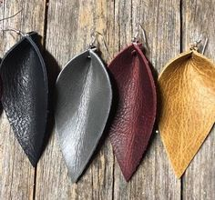 These are beautiful leather inverted teardrop shaped genuine leather earrings. You can see Joanna Gaines wearing this style earring on The Fixer Upper. leather leaf earrings Jo Anna brown leather earrings tear drop chip and joanna Dyi Earrings, Diy Leather Earrings, Leaf Earrings, Teardrop Earrings, Leather Jewelry Making, Nice Jewelry, Jewellery Making, Jewlery, Leather Projects