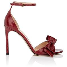 Valentino Garavani Women's Bow-Embellished Snakeskin Ankle-Strap... ($1,095) ❤ liked on Polyvore featuring shoes, sandals, red, red high heel shoes, valentino shoes, red shoes, ankle tie sandals and bow sandals