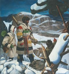 Chief Factor Barnston and R. Ballantyne at Tadoussac, 1846 by Charles Fraser Comfort courtesy of the Hudsons Bay Company. Shows clothing that would have been introduced to James Bay Cree around same time. Canadian History, Native American History, Native American Indians, Quebec, Hudson Bay Blanket, Bay Point, Blanket Jacket, Wool Blanket, Fur Trade