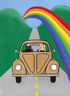 Follow the Rainbow VW Cats Original Folk Art by KilkennycatArt