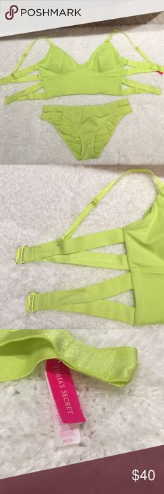 Victoria's Secret bikini size Medium Victoria's Secret bikini size Medium. Super cute. I LOVE THE BOTTOMS! Top doesn't fit quite like I would want. I'm short waisted so it's not a good fit for me. Like new condition except for metal clasp has slight rubbing off of color. You can see in picture. Victoria's Secret Swim Bikinis