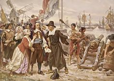 Ariaentje geboortigh van Nieuw Nederlandt  Dominee Megapolensis and the women pleading with Commander Pieter Stuyvesant not to fire on the English warships near Ariaentje's home in New York (1664)