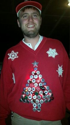 Ugly Christmas Sweater made from Beer caps!!