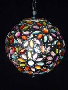 Multi Colored Bohemian Jeweled Beaded Lamp -- 14 Inches