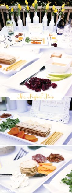"It can be stressful trying to plan a Bridal Shower that is fun, celebratory, and easy to achieve. Thankfully, this party theme for ""the perfect pair"" takes cheese, wine, and food pairings and gives the a romantic twist. Check out theses decorating ideas to finalize all the inspiration you need for your party."