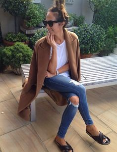 Camel coat, ripped jeans & Marant sandals #style #fashion