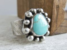 Patagonia Turquoise Ring, Rustic Bohemian Jewelry, December Birthstone, Sterling Silver, Statement ring, Genuine Turquoise on Etsy, $145.00