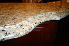The granite is New Venetian Gold and the edge is called Ogee. The Ogee edge can change your kitchen completely ,it can make it look very elegant,however the sharp edge line on top can chip very easily Granite Kitchen, Granite Countertops, Kitchen Dining, Dining Room, New Venetian Gold Granite, Granite Edges, Vanity Backsplash, Ogee Edge, Granite Colors