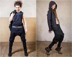 Street Fashion, Men Fashion, Jedi Outfit, Pixie Outfit, Dystopian Fashion, Cyberpunk Clothes, Witch Dress, Drop Crotch Pants, Stretch Belt