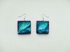 Wooden galaxy earrings handpainted, aurora borealis, nebula, blue, black, green, cosmos, acrylic painting, square, boho style, gift idea