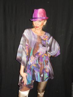 Купить Блуза - Ах ,эти ирисы - фиолетовый, цветочный, Батик, ручная роспись, натуральный шелк