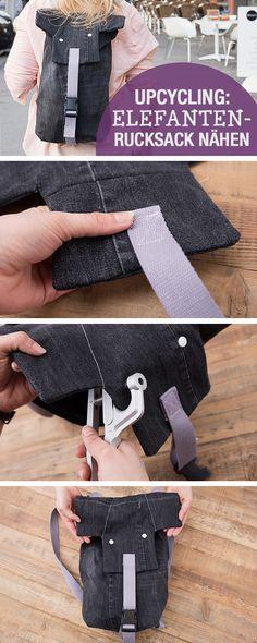Nähanleitung: Elefantenrucksack aus alter Jeans nähen / diy sewing tutorial: elephant backpack made of old jeans via DaWanda.com