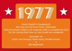Einladungskarte zum 40. Geburtstag:  1977 Ereignisse  ............  **So funktioniert die Bestellung:  Lege einfach die gewünschte Karte in den Warenkorb. Im Warenkorb gibt es ein...