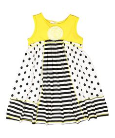This Pink Vanilla Yellow & Black Dot Babydoll Tank Dress - Toddler & Girls by Pink Vanilla is perfect! #zulilyfinds