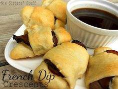 French Dip Crescents, quick and delicious dinner with link for homemade au jus! French Dip Crescents, Beef Recipes, Cooking Recipes, Recipies, Yummy Recipes, Cooking Tips, Crescent Roll Recipes, Crescent Rolls, Sandwiches