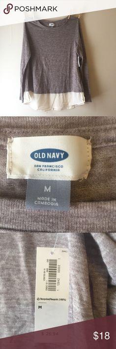 Long Sleeve Shirt Long Sleeve Shirt - 2 materials, sheer chiffon flowy bottom. Old Navy Tops Tees - Long Sleeve