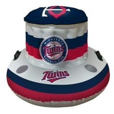 """Minnesota Twins MLB Beach/Pool Inflaitable Floating Cooler (49""""x20""""). Officially-licensed Inflaitable Coolers from all your favorite MLB Teams, are a great pool accessory to keep the refreshing drinks cold and right within your reach as you play and relax in the water on those hot days.  They hold plenty of ice and beverages with a 32 quart capacity, and even have four cupholders to conveniently keep those drinks afloat and nearby.  The cooler is made out of durable polyvinyl with handles for e"""