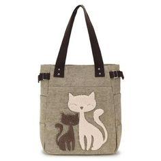 Ladies  Canvas Bag Women Shoulder Bags Female Cute Cat Handbag Casual  Totesintothea Canvas Handbags 3a6ac01043524