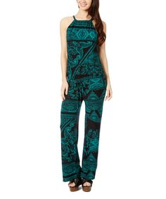 Love this Black & Green Jumpsuit by GLAM on #zulily! #zulilyfinds