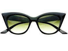 Retro Vintage Style Tip Pointed Cat Eye Sunglasses Black C911
