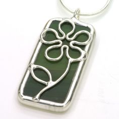 Green Daisy Stained Glass Pendant. $25, made to order in any color!