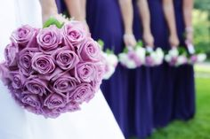 Purple Rose Bouquet with the blue dresses...like it