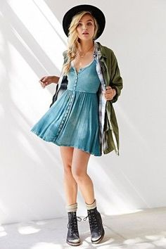 blue dress dress urban outfitters denim button up grunge hipster jacket hat button up dress fashion denim dress coat spring outfits boho blouse