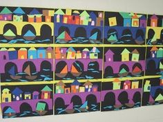 Shapes, bridges, houses and boats with geometric figures - could have tally sheet with it