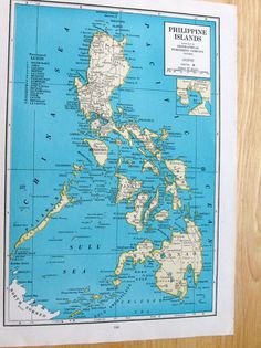 1945 Antique Maps - Philippine Islands or Alaska to Frame or for Collage, Scrapbooking, Paper Arts, Mixed Media and Vintage Maps, Antique Maps, World Globes, Old Maps, Alaska, Philippines, Paper Art, Mixed Media, Collage