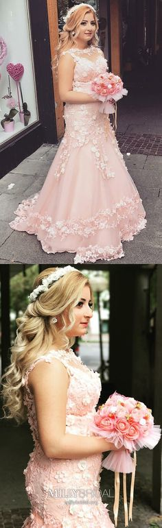 Pink Prom Dresses Long, Mermaid Formal Dresses for Teens, Vintage Pageant Dresses Lace, Elegant Wedding Party Dresses Tulle #MillyBridal #pinkpromdresses #mermaidpromdress #formaldressesforteens