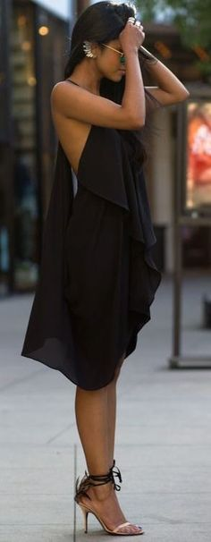 street style black chiffon dress @wachabuy