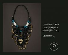 Bespoke range neckpieces designed by Katherine-Mary Pichulik, and handcrafted in Cape Town using locally manufactured ropes and interesting found materials. Paper Jewelry, Jewelry Box, Jewelry Necklaces, Bold Jewelry, Jewellery, Bohemian Necklace, Black Artists, Jewel Tones, Beaded Earrings