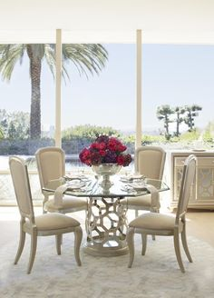 """Aico After Eight 60"""" Round Dining Table with Octagonal Shaped Glass Top in Pearl 19001-101-08"""
